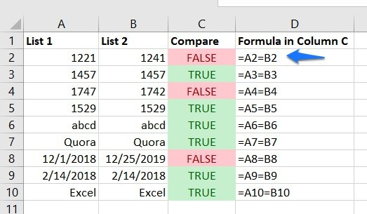 compare lists excel