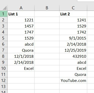 compare lists excel_2